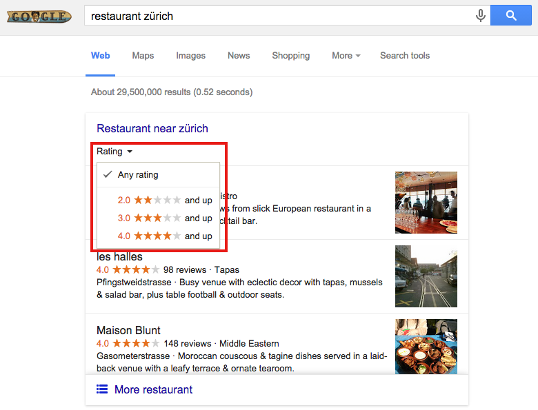 Filter by rating in in the new Google Snack Pack results