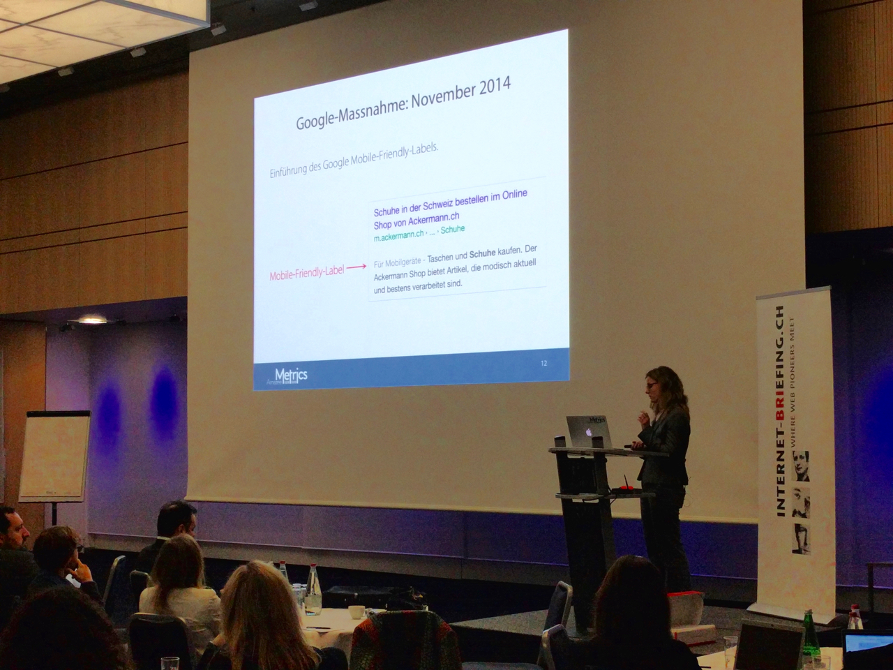 Christina presenting at the Search Engine Conference Zurich 2016
