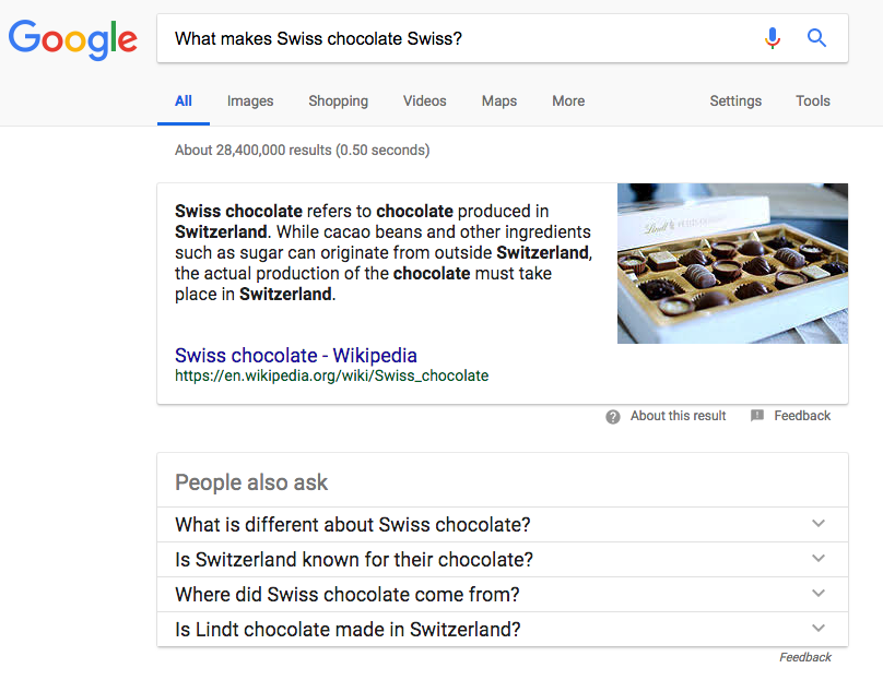Informational Intent could very well lead to a Featured Snippet being shown in the SERPs.