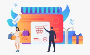 Store with credit card, gift boxes, buyers vector illustration