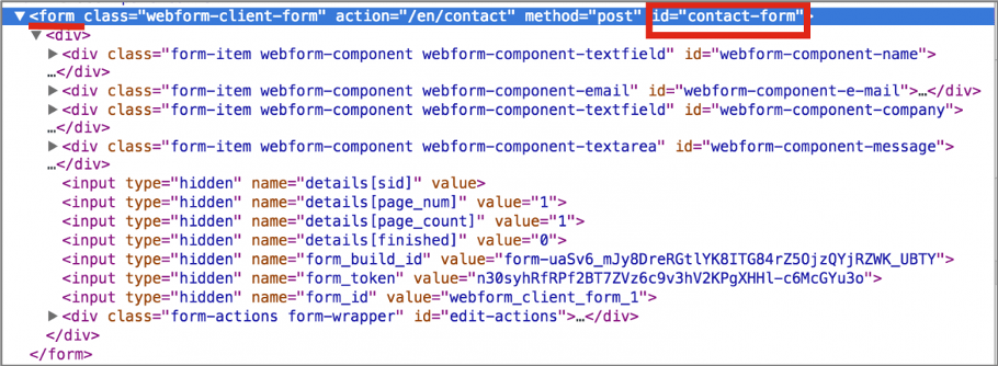 Website HTML code highlighting the ID attribute of a Form element