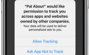 iPhone with new Privacy Reminder pop-up open